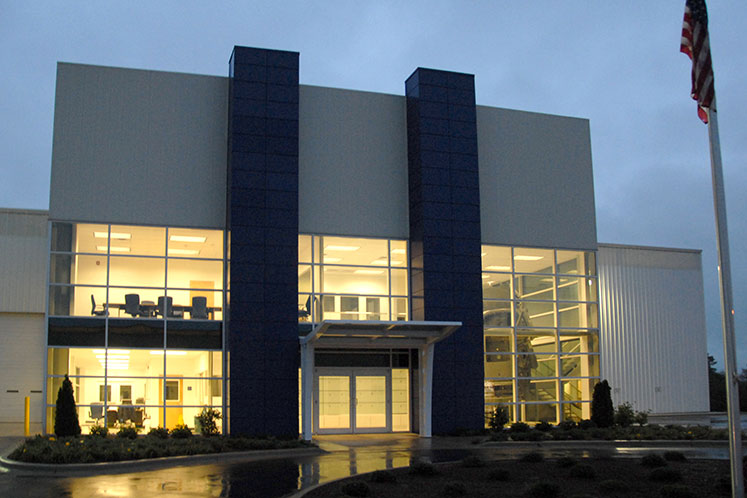 Exterior Detail at Night of Oerlikon Blazers VST Building