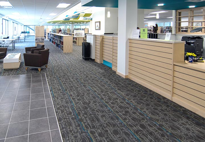 Interior detail - front desk of the library in the Metropolitan Complex and Library in Pell City