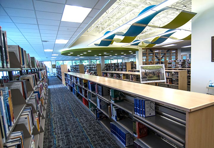 Interior detail of the bookshelves in the library at the Metropolitan Complex and Library in Pell City