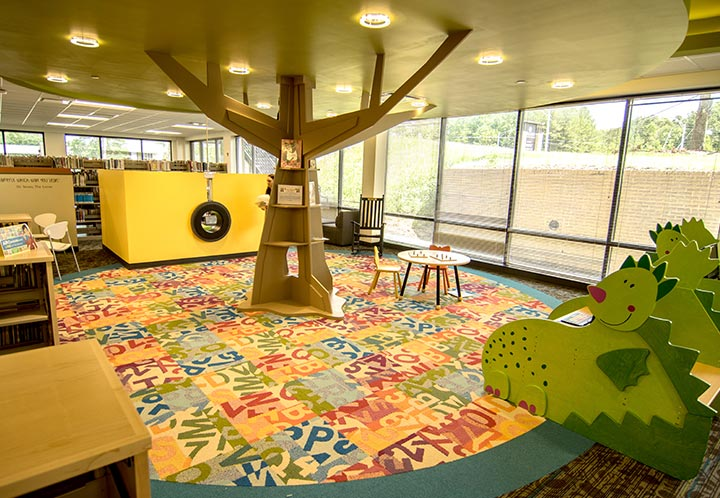 Interior detail of the children's reading area in the library at the Metropolitan Complex and Library in Pell City