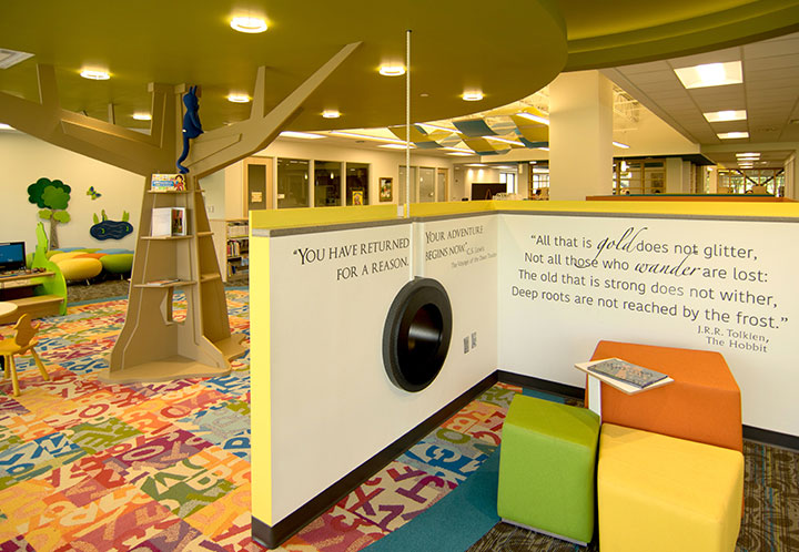 Interior detail of children's area in the library at the Metropolitan Complex and Library in Pell City