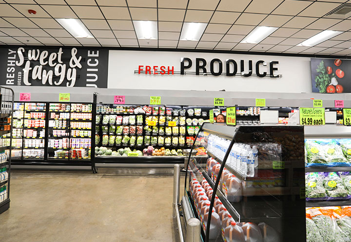Produce section of the Marino's Market