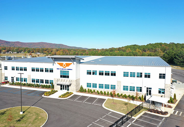 Exterior aerial of New Flyer building