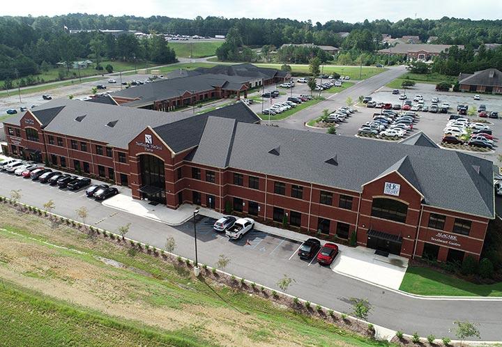 Aerial detail of entrance to Northside Medical Associates building