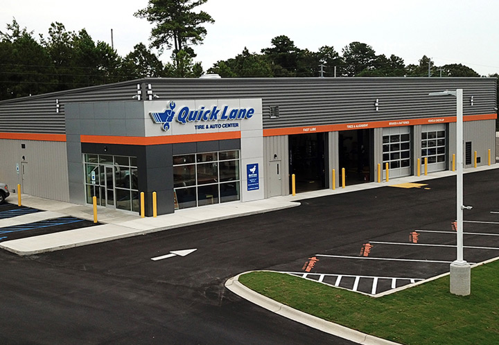 Exterior Aerial closeup of Entrance of Quick Lane Auto Service