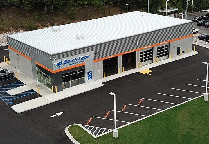 Exterior Aerial closeup of the entrance of Quick Lane Auto Service