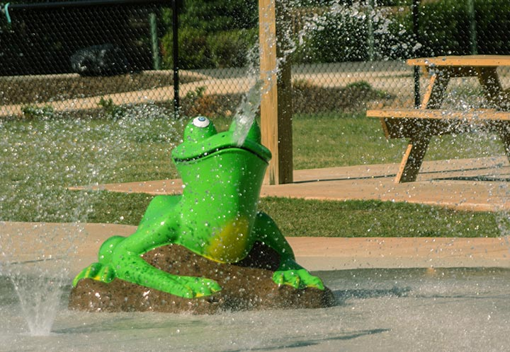 Detail of a constructed frog in the waterpark - Splash Pad - City of Pell City