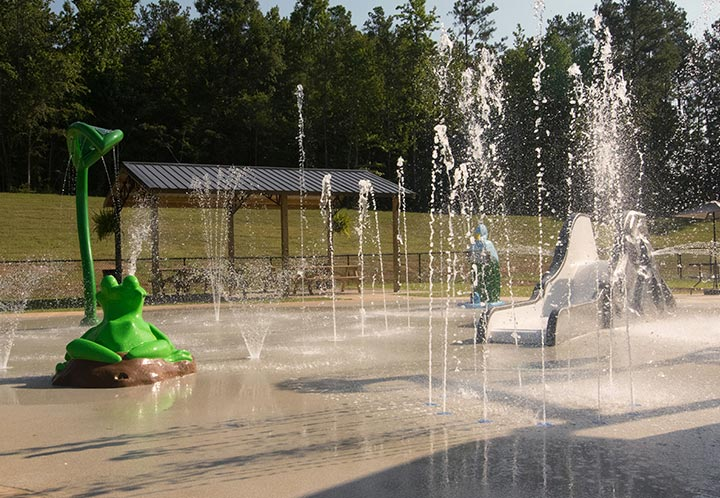 Detail of the spouts in the waterpark - Splash Pad - City of Pell City