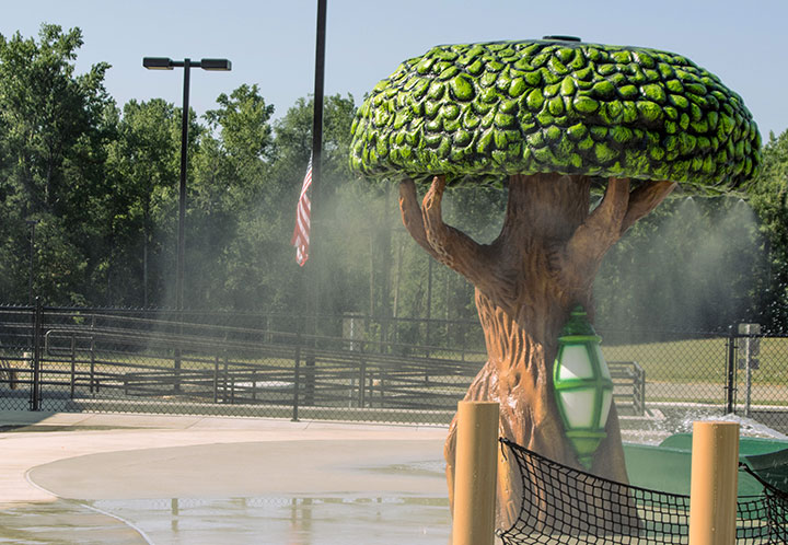 detail of a constructed tree in the waterpark - Splash Pad - City of Pell City