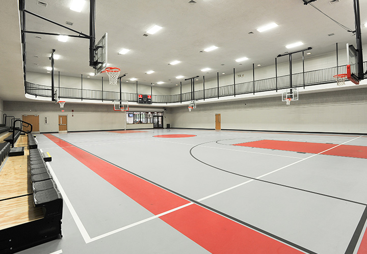 Interior detail of the gym at the Pell City Civic Center