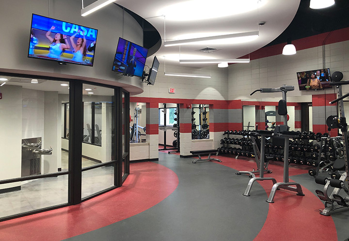 Interior detail of the weight room at the Pell City Civic Center