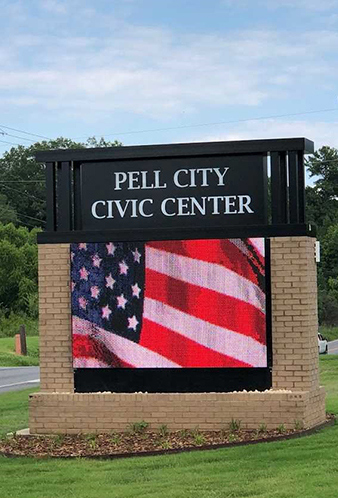 Exterior detail of the sign at the Pell City Civic Center